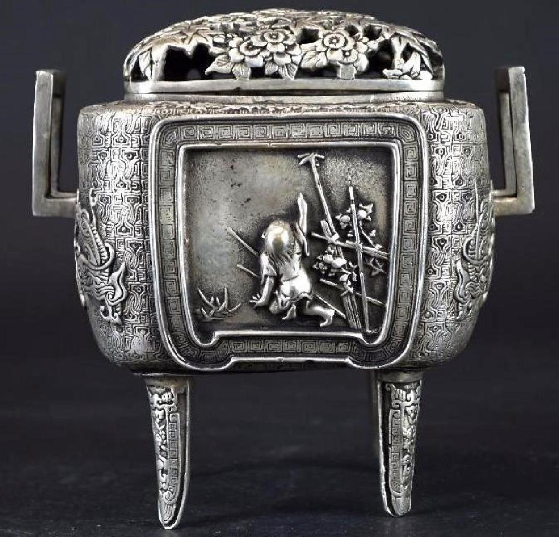 Chinese Silvered Censer With Open Work Lid - 3