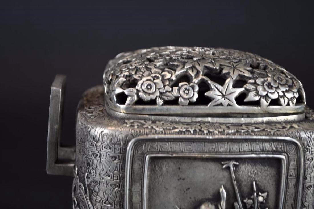 Chinese Silvered Censer With Open Work Lid - 7