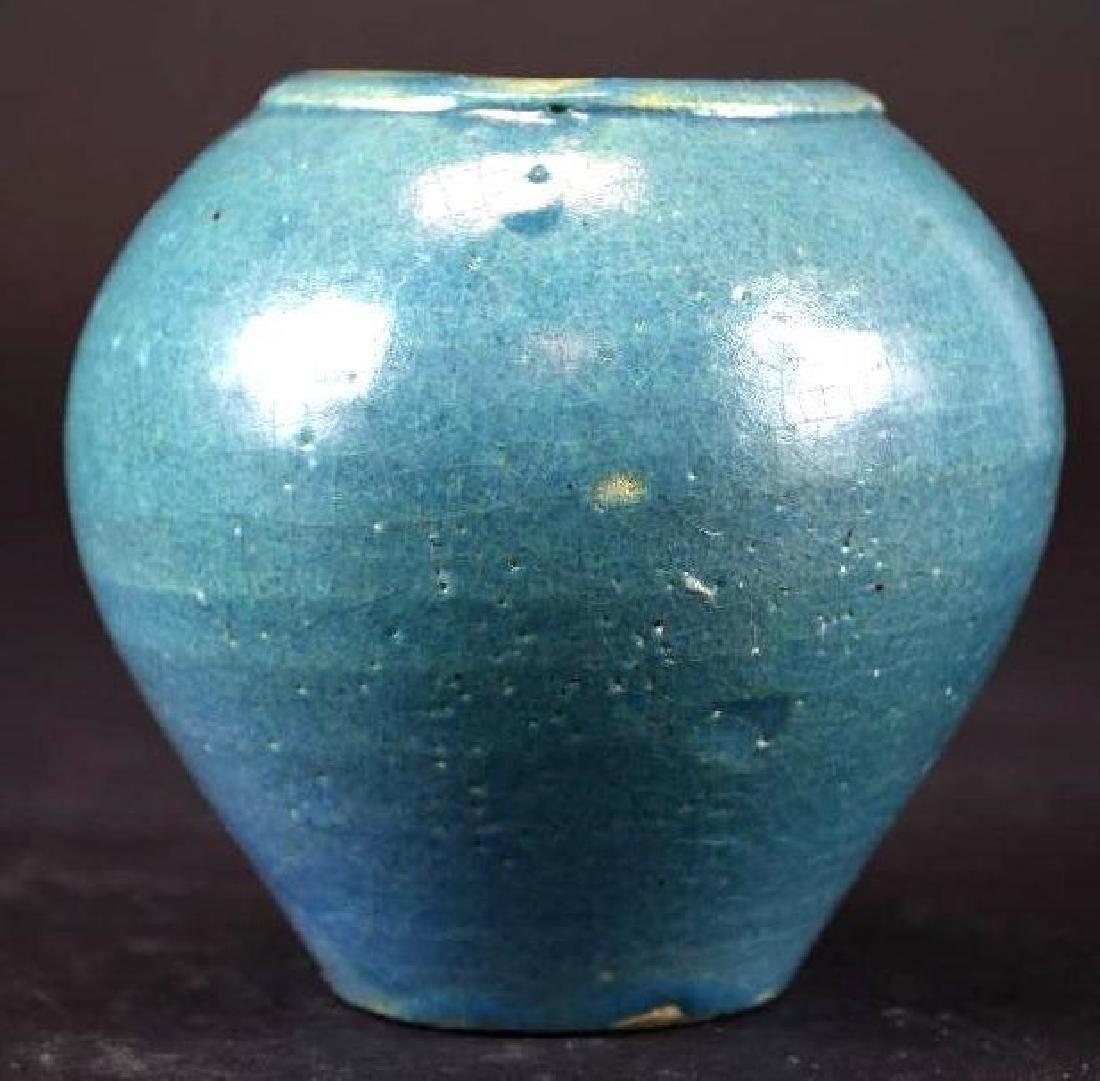 Chinese Blue Glaze Vase - 3