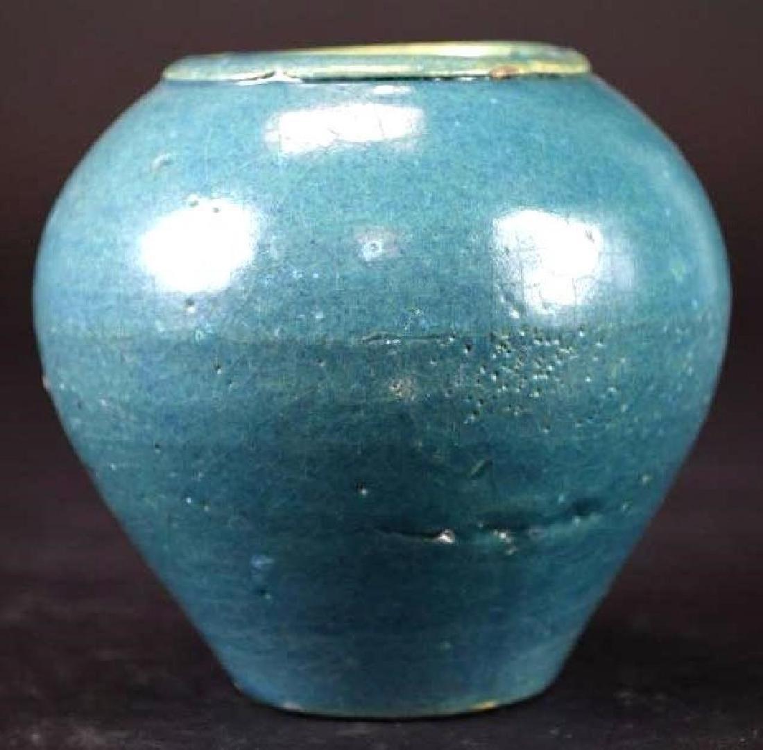 Chinese Blue Glaze Vase - 4