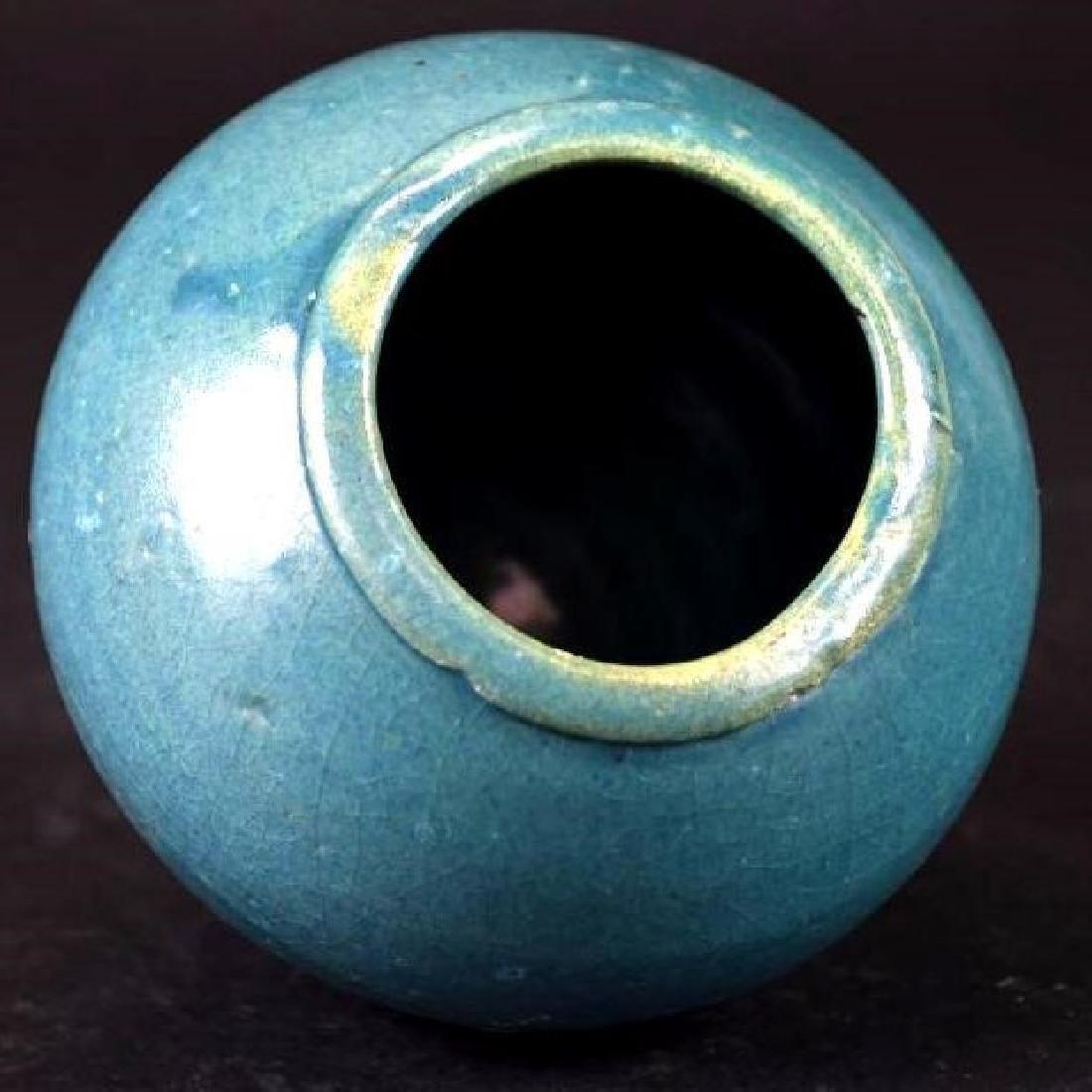 Chinese Blue Glaze Vase - 5