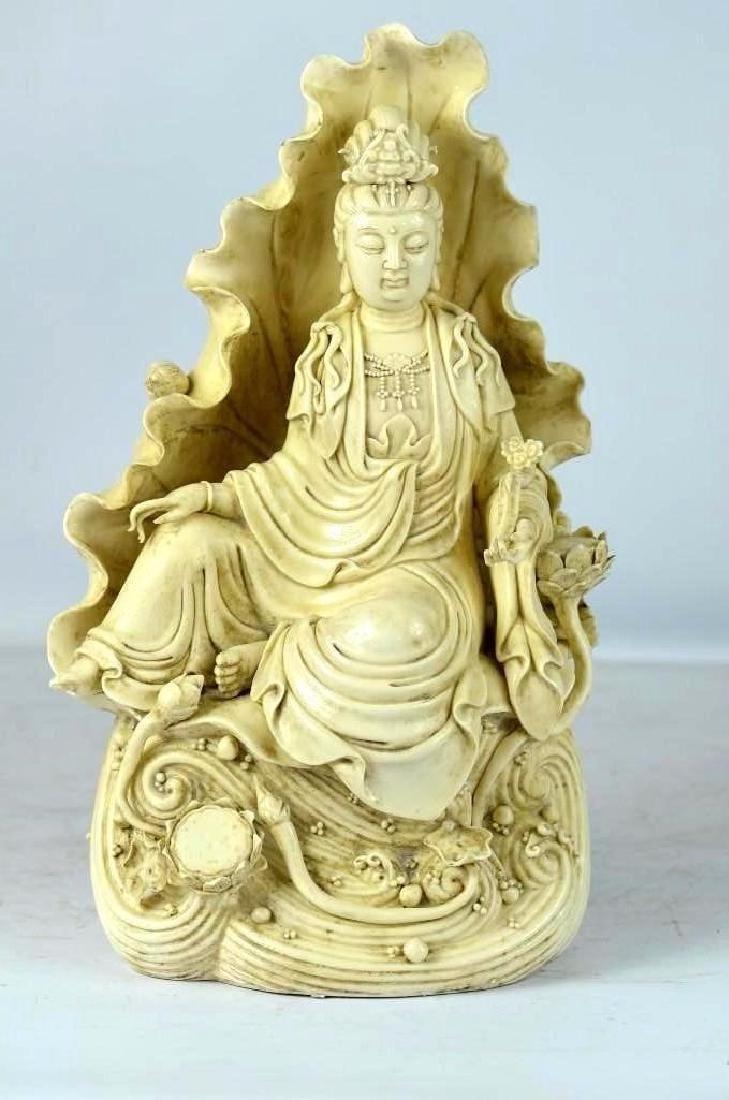 Chinese Blanc De Chine Porcelain Seated Guan Yin