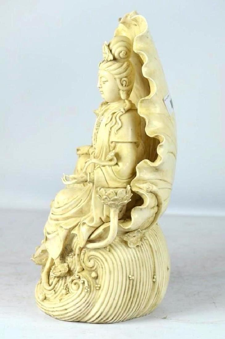 Chinese Blanc De Chine Porcelain Seated Guan Yin - 2