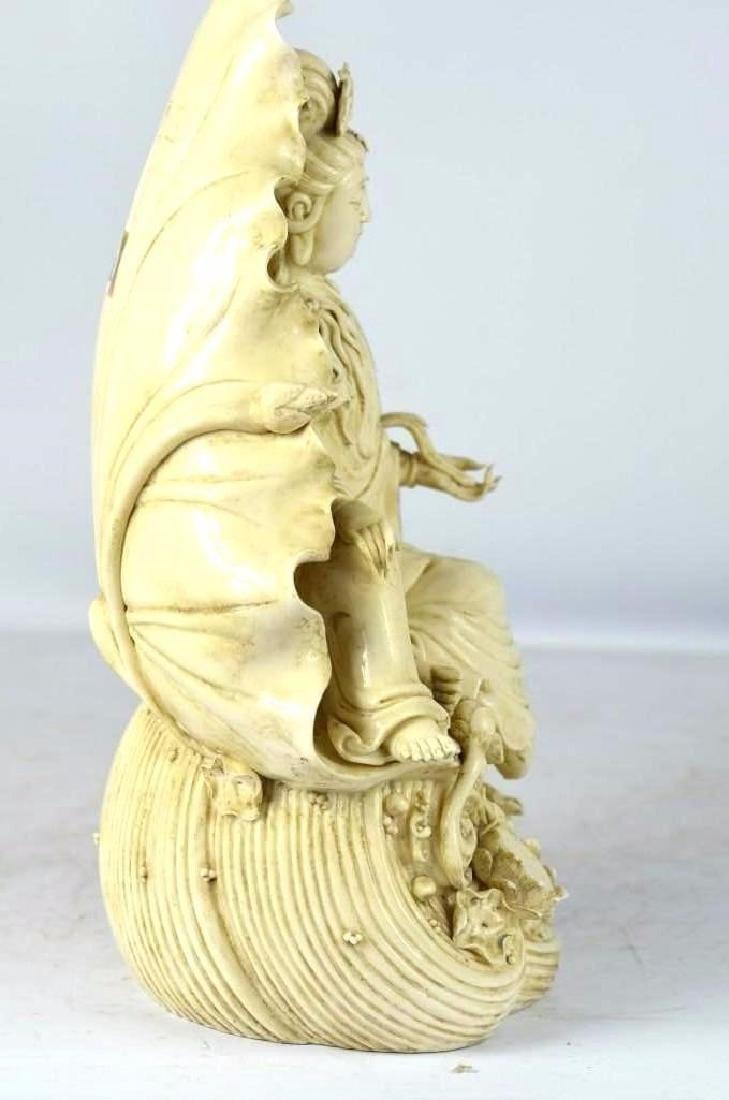 Chinese Blanc De Chine Porcelain Seated Guan Yin - 3