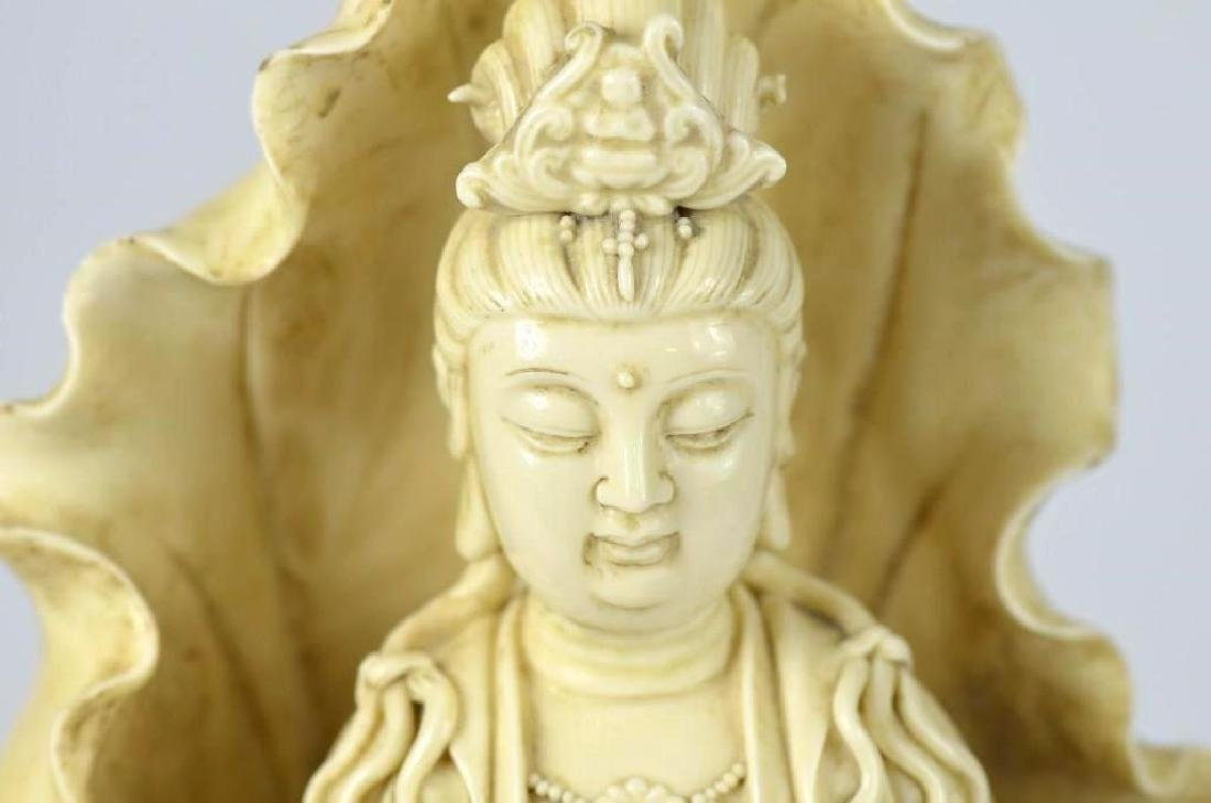 Chinese Blanc De Chine Porcelain Seated Guan Yin - 4