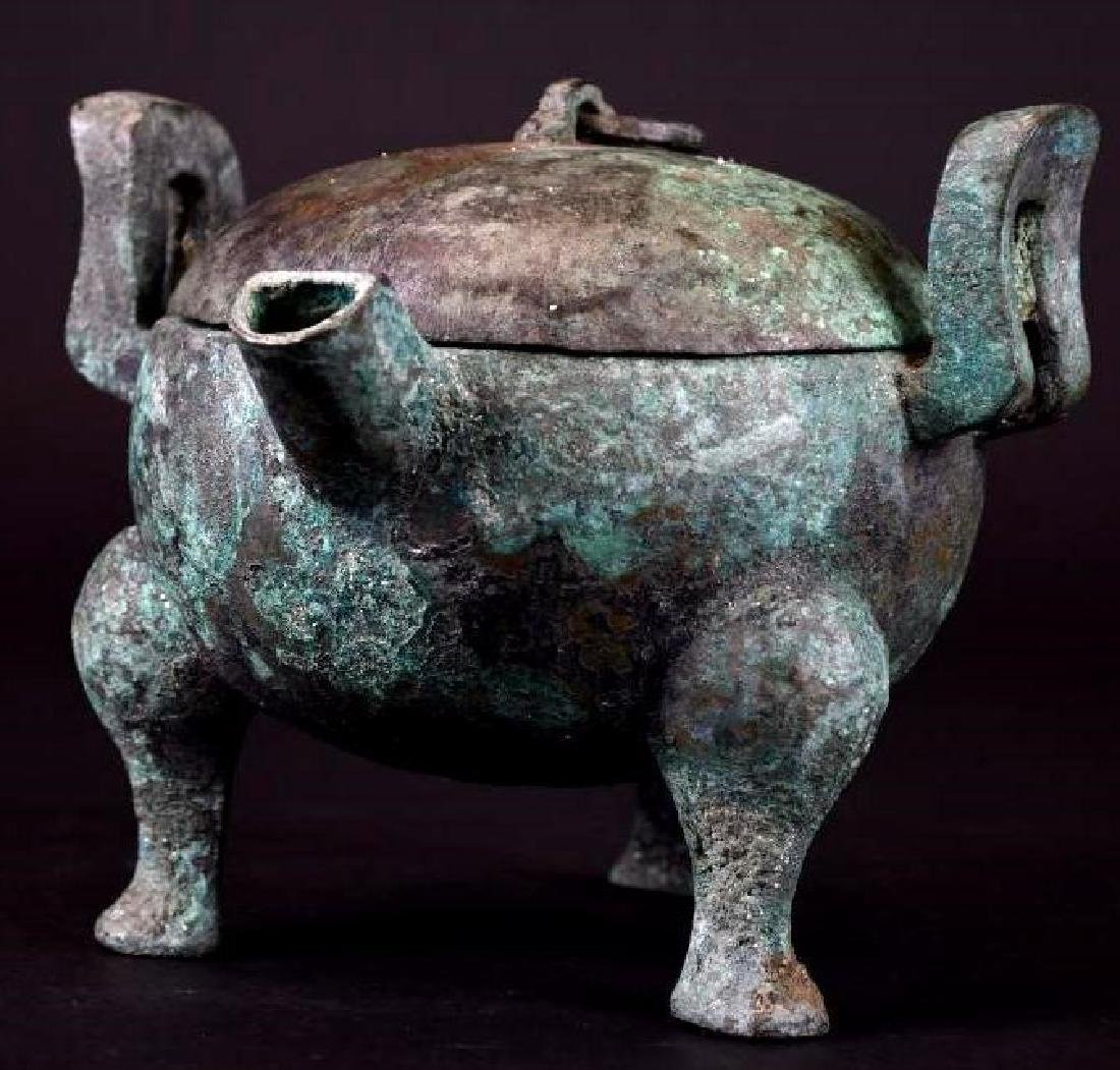 Chinese  Bronze Tripod Lidded Censer