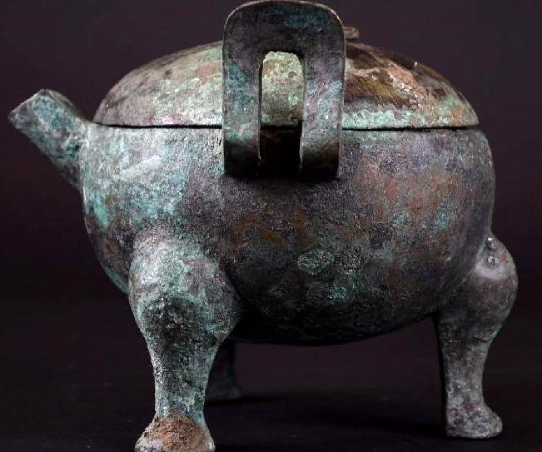 Chinese  Bronze Tripod Lidded Censer - 2
