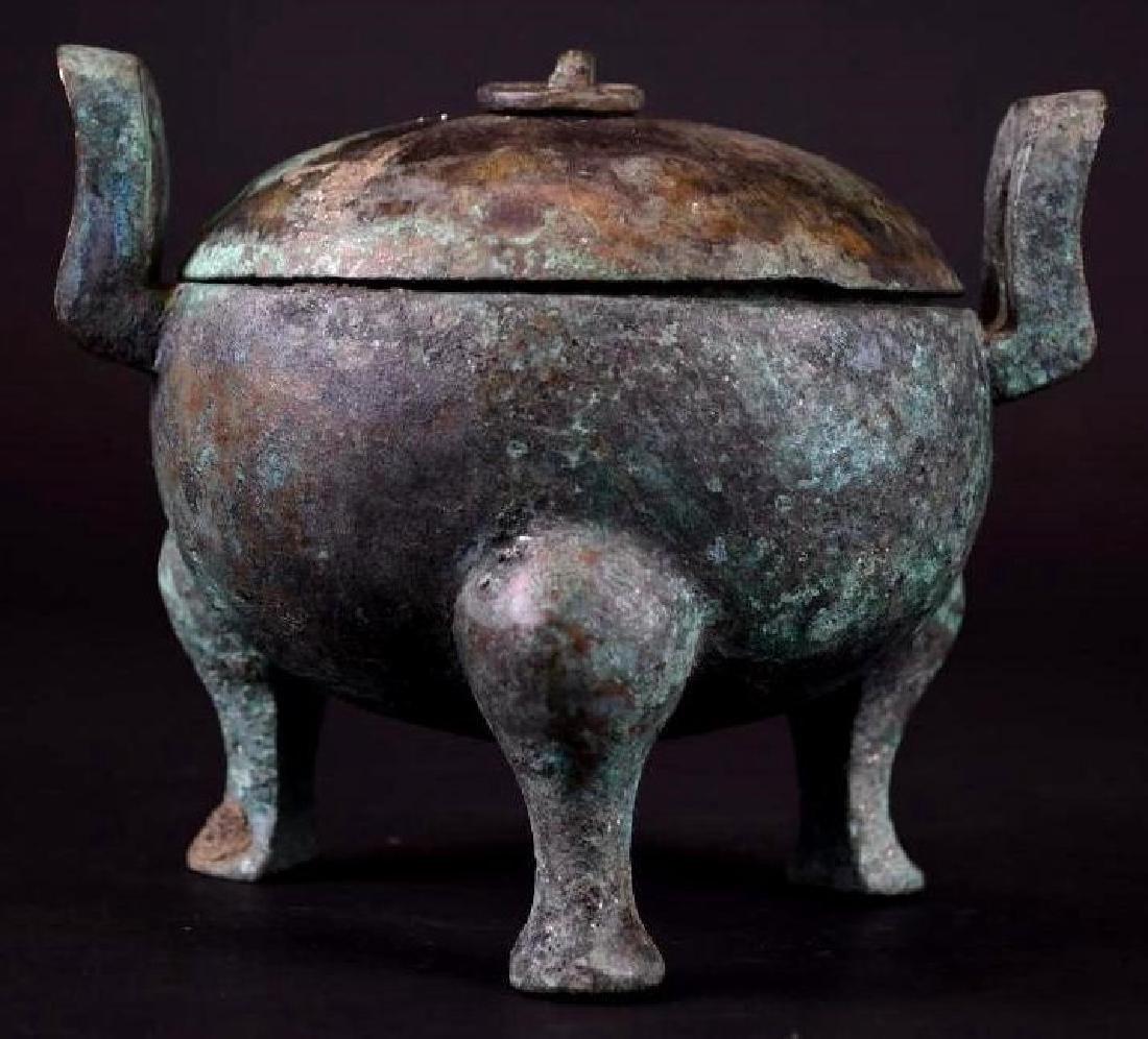 Chinese  Bronze Tripod Lidded Censer - 3