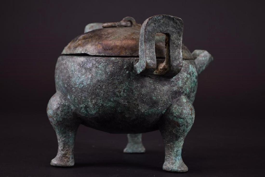 Chinese  Bronze Tripod Lidded Censer - 4
