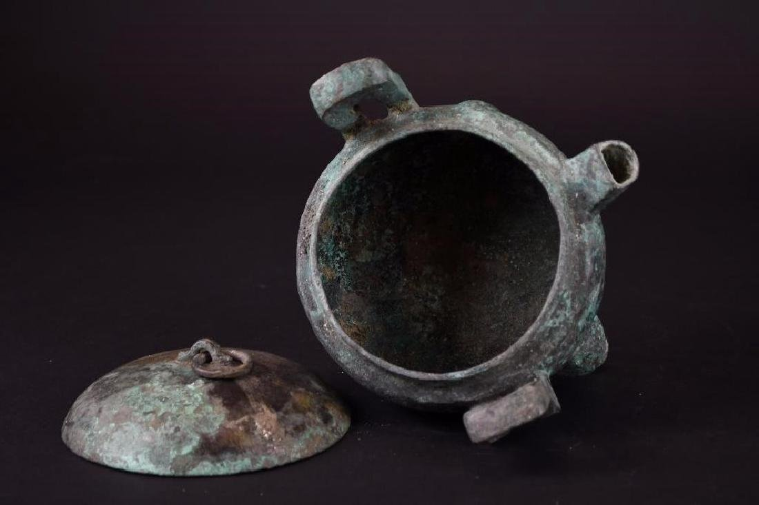 Chinese  Bronze Tripod Lidded Censer - 5