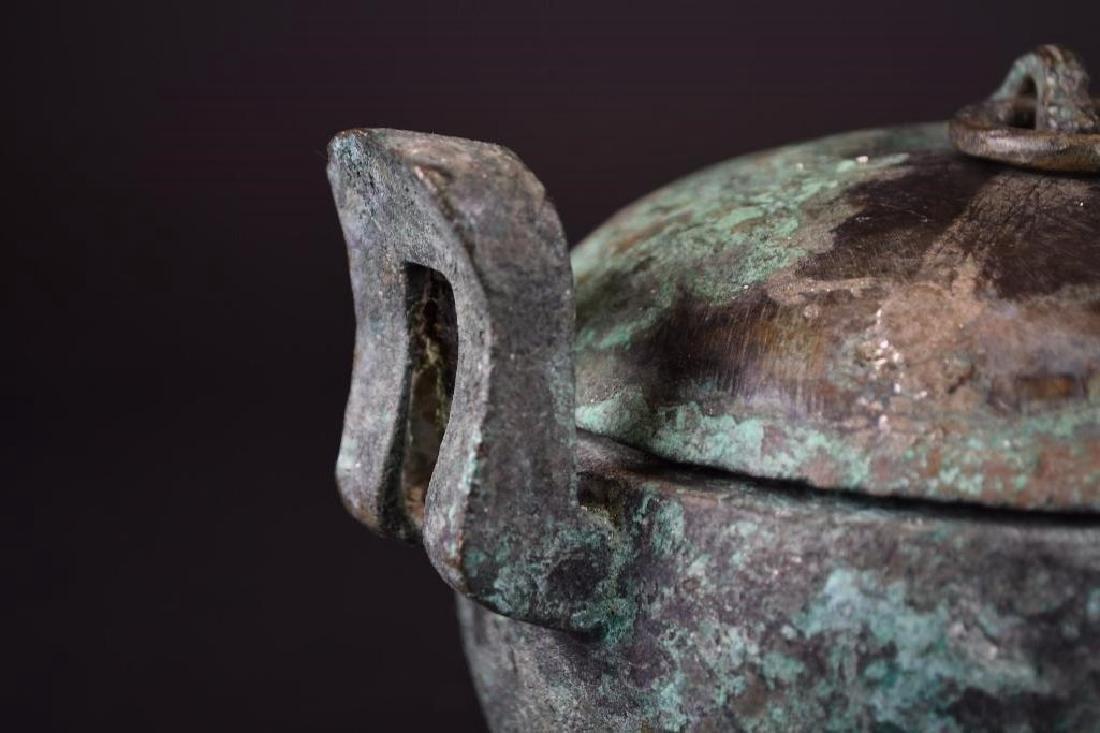 Chinese  Bronze Tripod Lidded Censer - 6