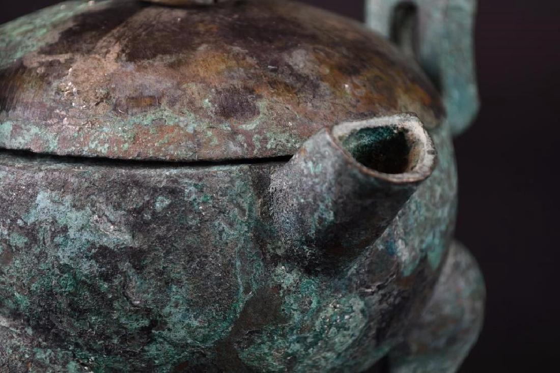 Chinese  Bronze Tripod Lidded Censer - 7