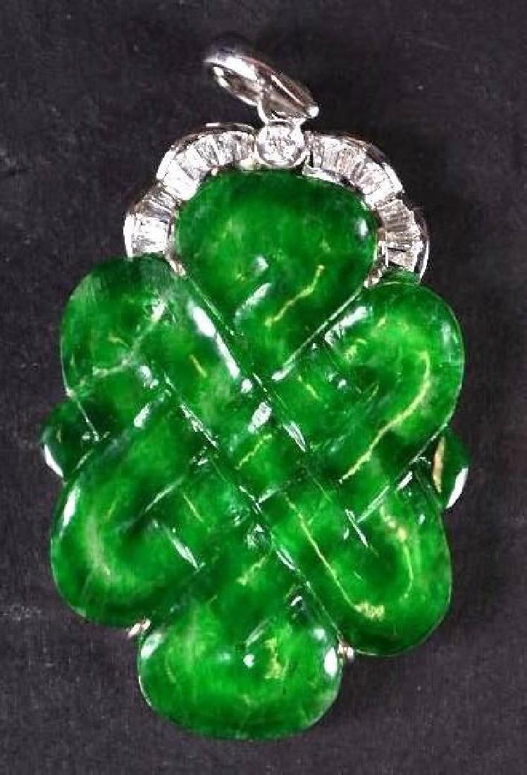 Chinese Diamond, Jade & Gold Pendant