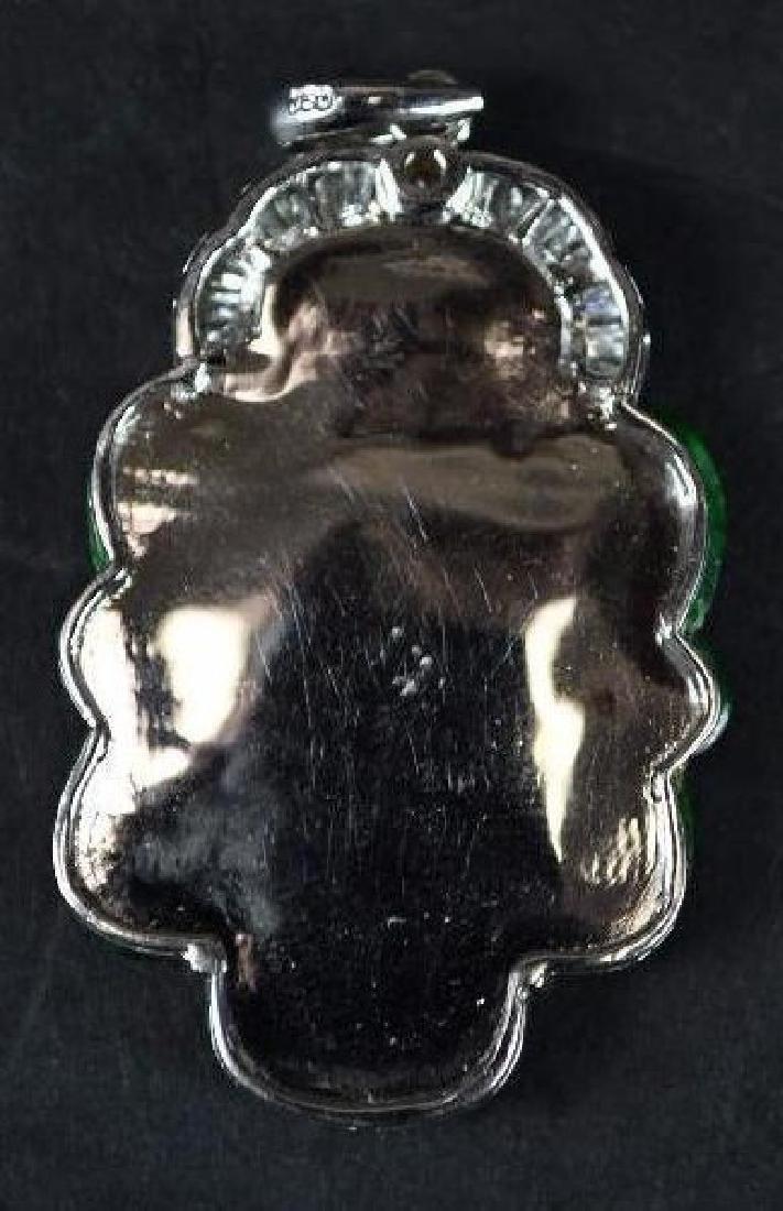 Chinese Diamond, Jade & Gold Pendant - 2