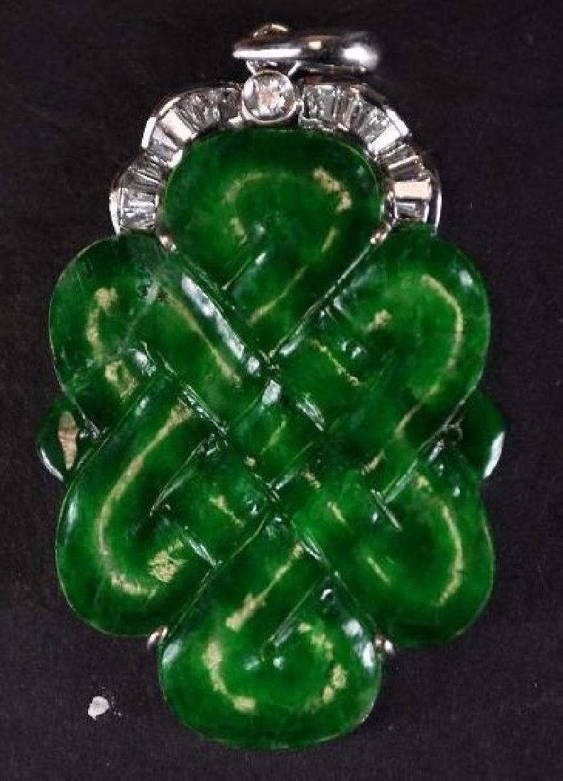 Chinese Diamond, Jade & Gold Pendant - 3