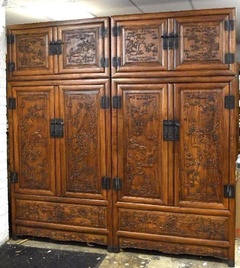 Pair of Chinese Hardwood Dragon Cabinets