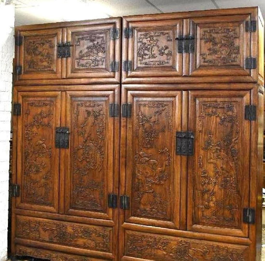 Pair of Chinese Hardwood Dragon Cabinets - 2