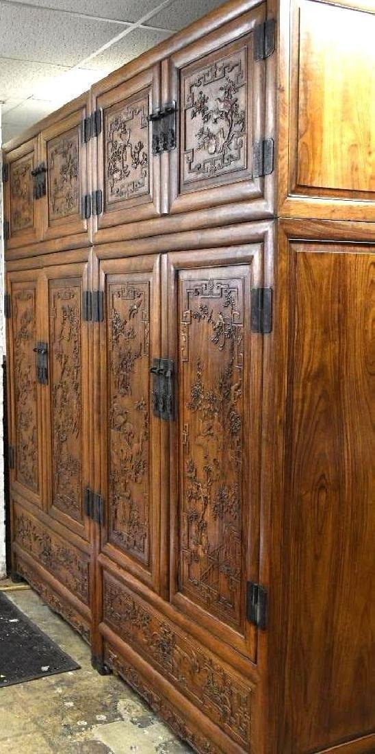 Pair of Chinese Hardwood Dragon Cabinets - 3