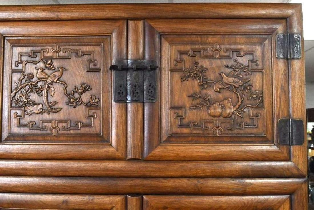Pair of Chinese Hardwood Dragon Cabinets - 4