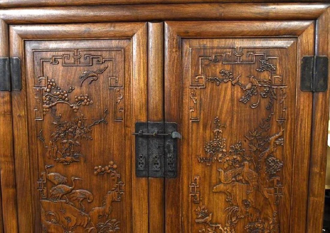 Pair of Chinese Hardwood Dragon Cabinets - 5
