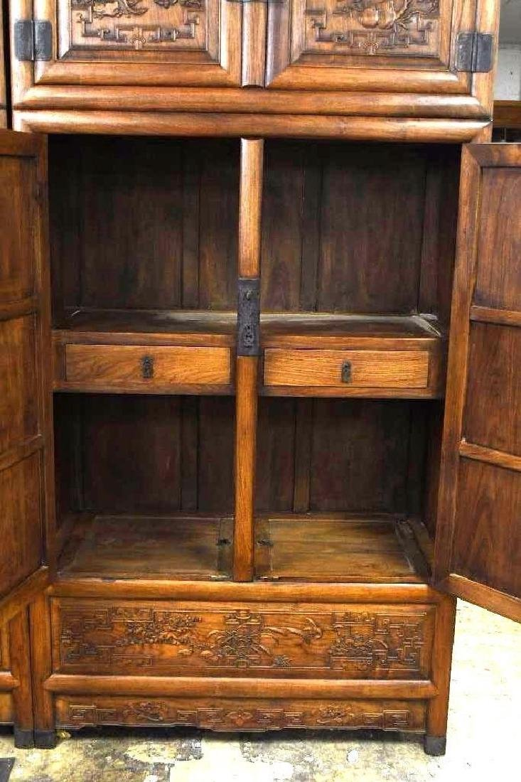 Pair of Chinese Hardwood Dragon Cabinets - 7