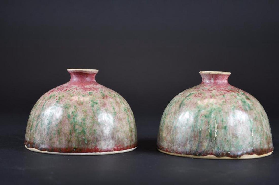 Pair of Chinese Peach Bloom Glaze Vases