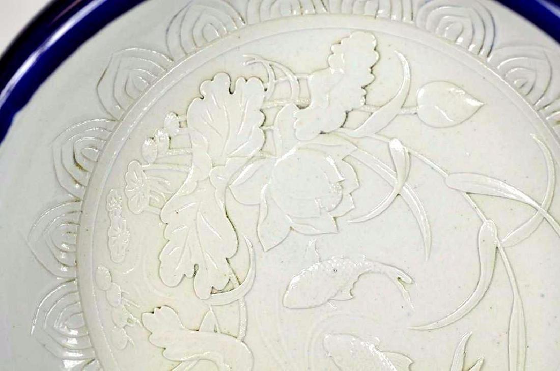 Chinese White Glaze & Underglaze Blue Rim Charger - 2