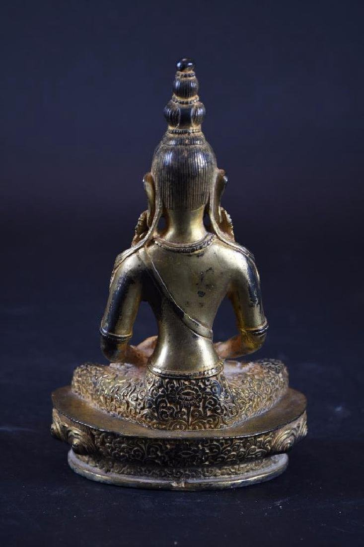 Chinese GiltBrozne Seated Buddha - 3