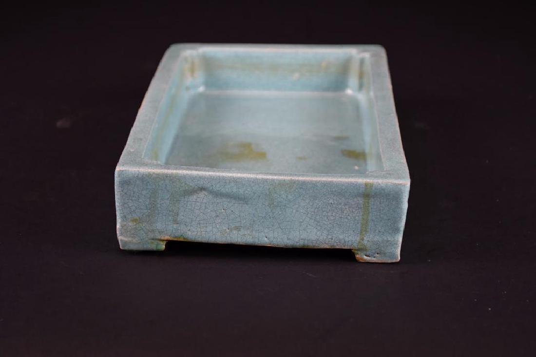 Chinese Pale Blue Crackle Glaze Porcelain Tray - 2