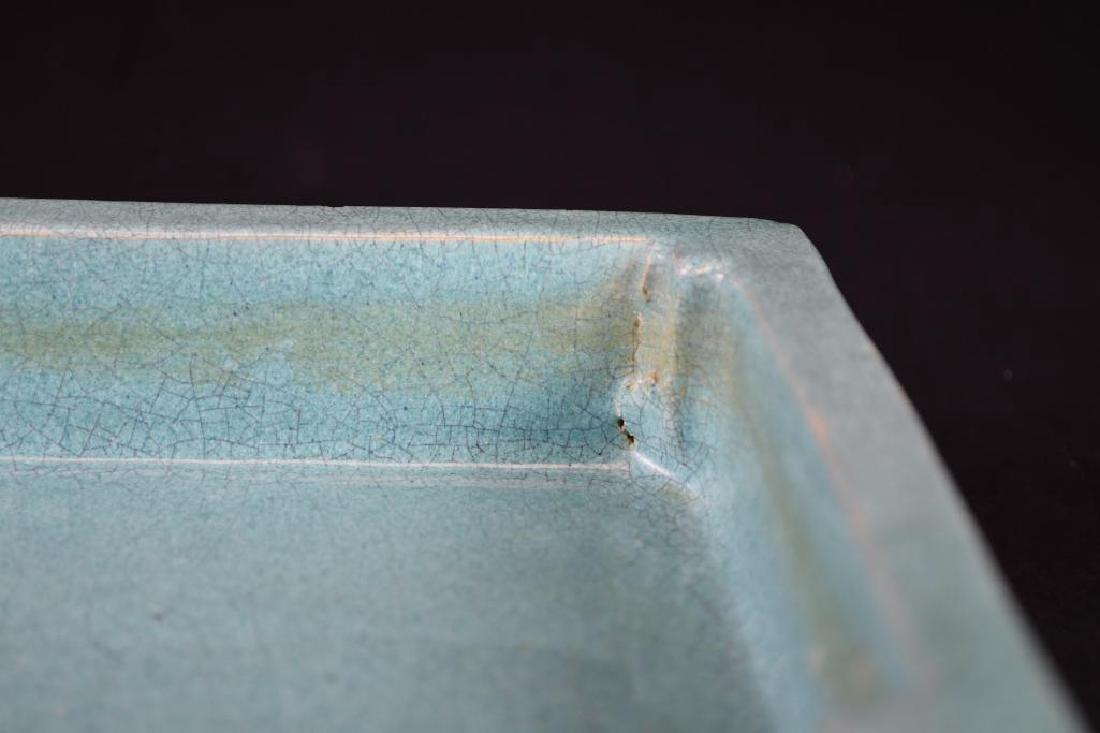 Chinese Pale Blue Crackle Glaze Porcelain Tray - 4