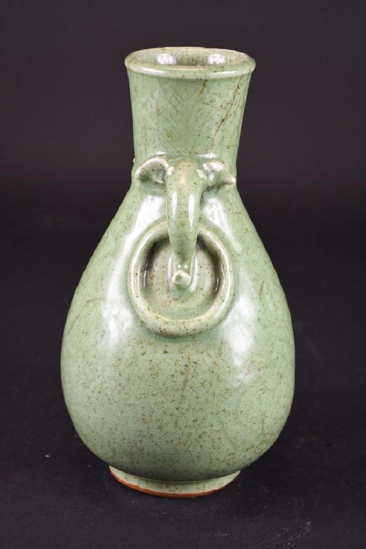 Chinese Celadon Glaze Footed Vase - 4