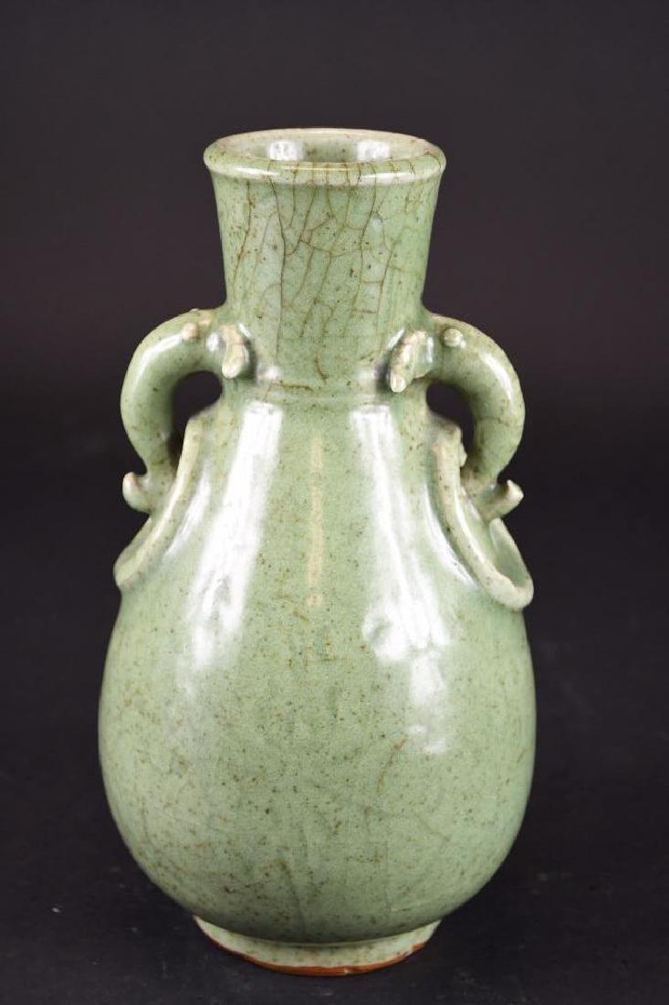 Chinese Celadon Glaze Footed Vase - 5