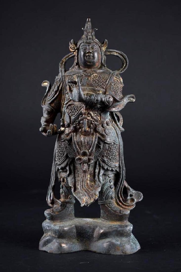 Chinese Bronze Standing Warrior