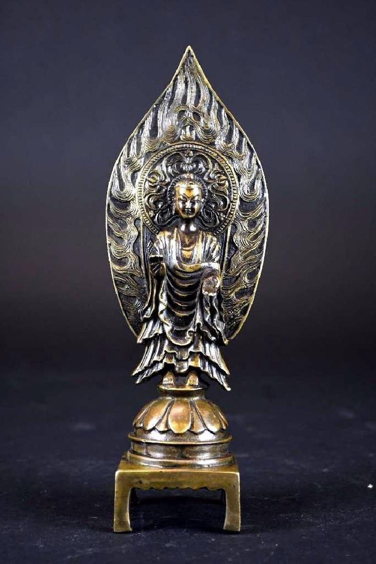 Chinese Bronze Guan Yin On Lotus Base