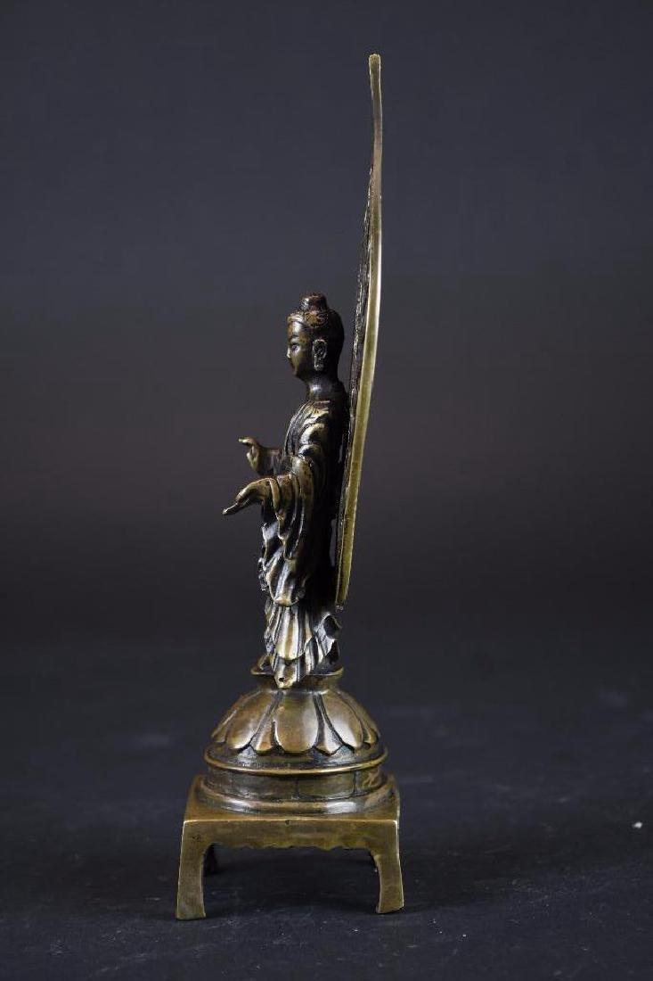 Chinese Bronze Guan Yin On Lotus Base - 2