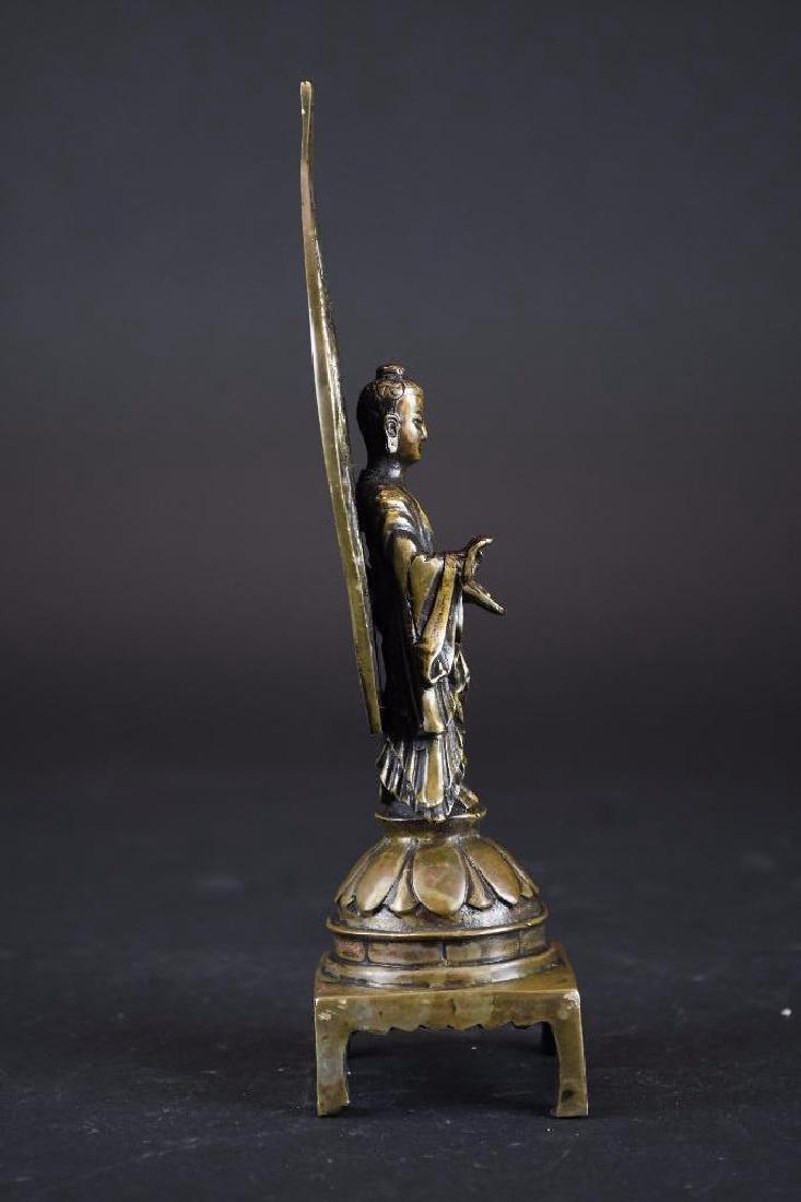 Chinese Bronze Guan Yin On Lotus Base - 4