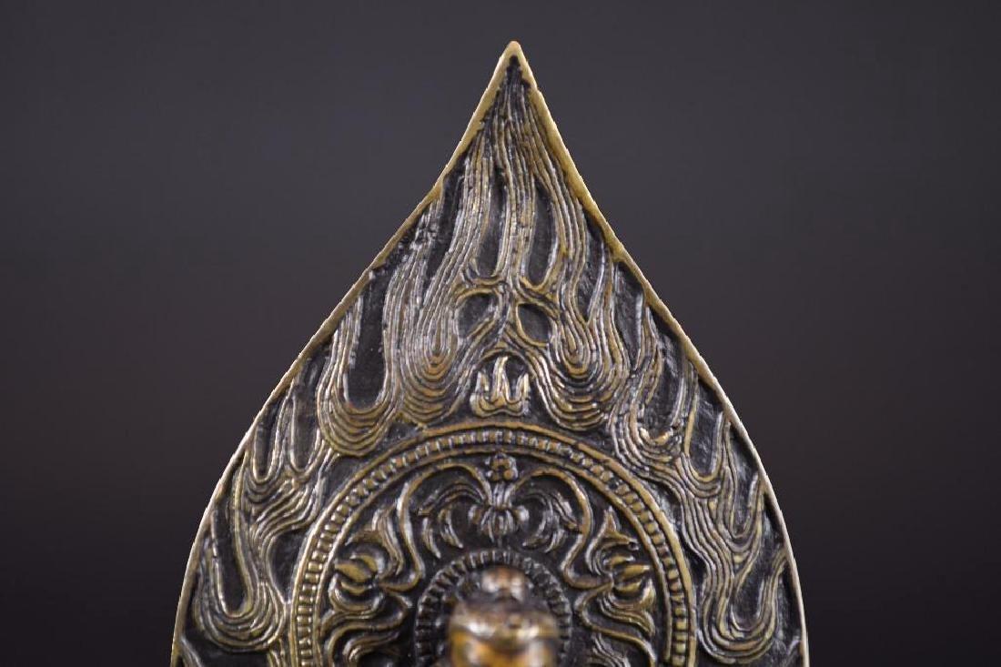Chinese Bronze Guan Yin On Lotus Base - 5
