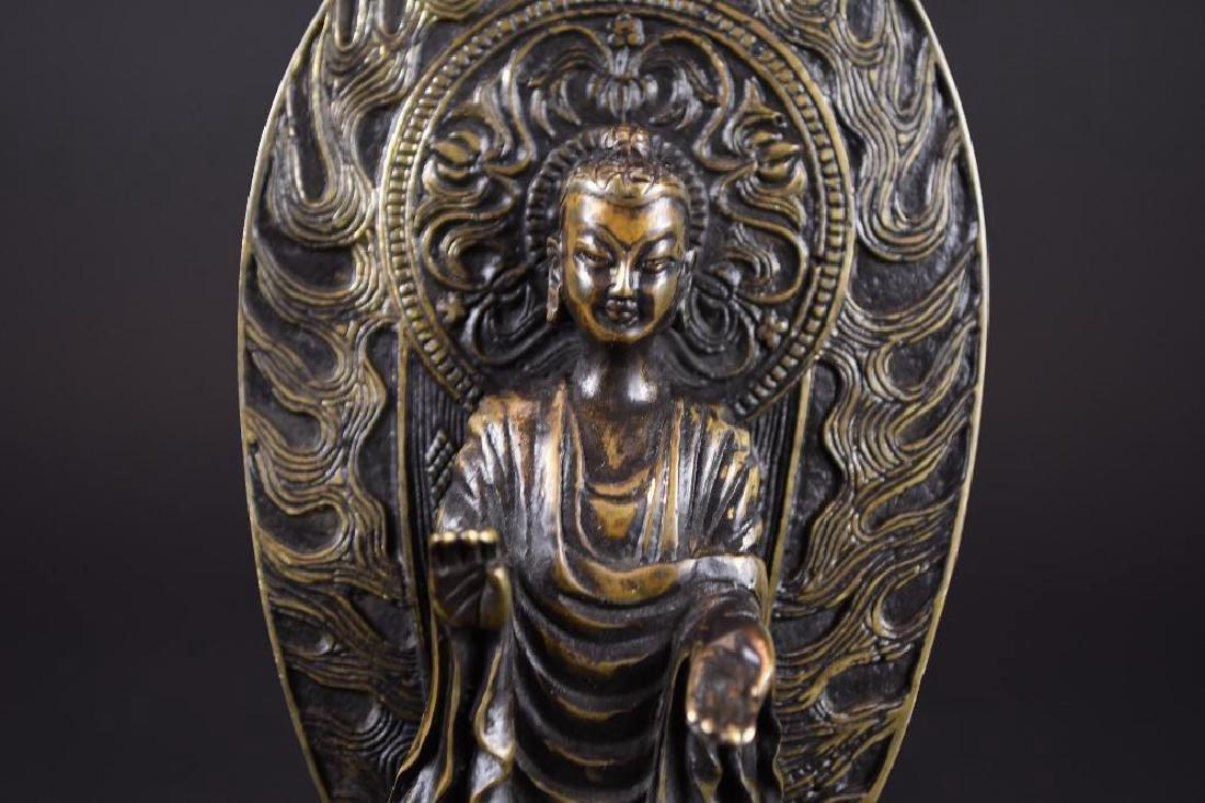 Chinese Bronze Guan Yin On Lotus Base - 6