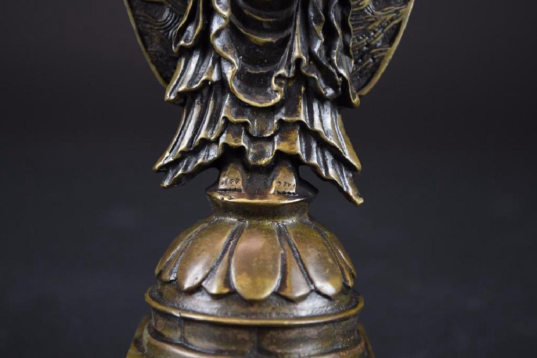 Chinese Bronze Guan Yin On Lotus Base - 7