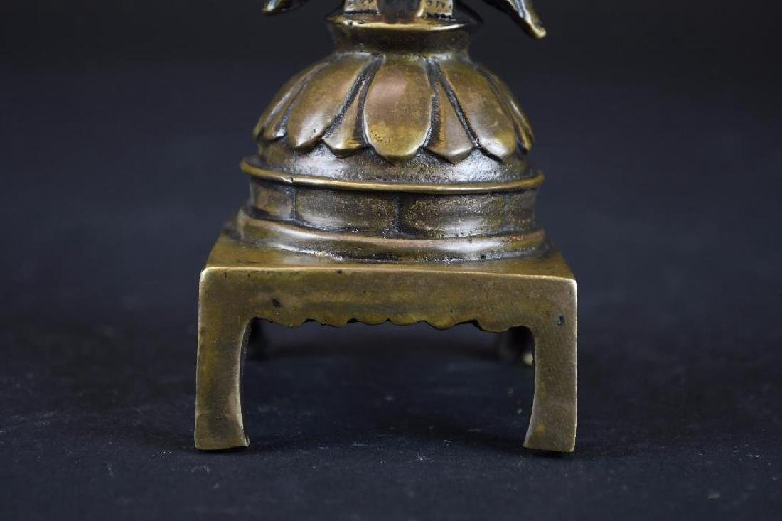 Chinese Bronze Guan Yin On Lotus Base - 8
