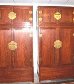 Pair of Chinese Hardwood Cabinets