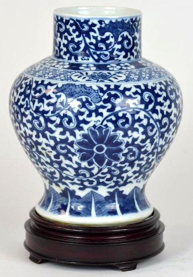 Chinese Blue & White Vase on Stand