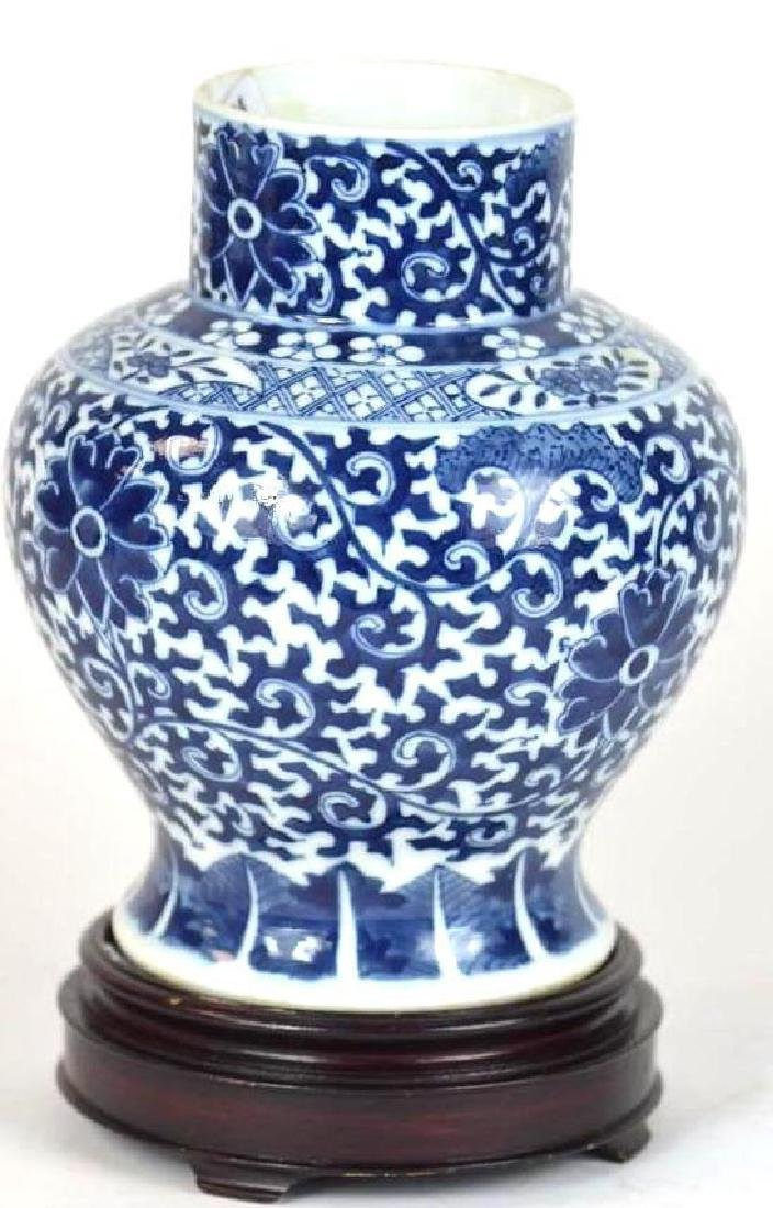 Chinese Blue & White Vase on Stand - 2