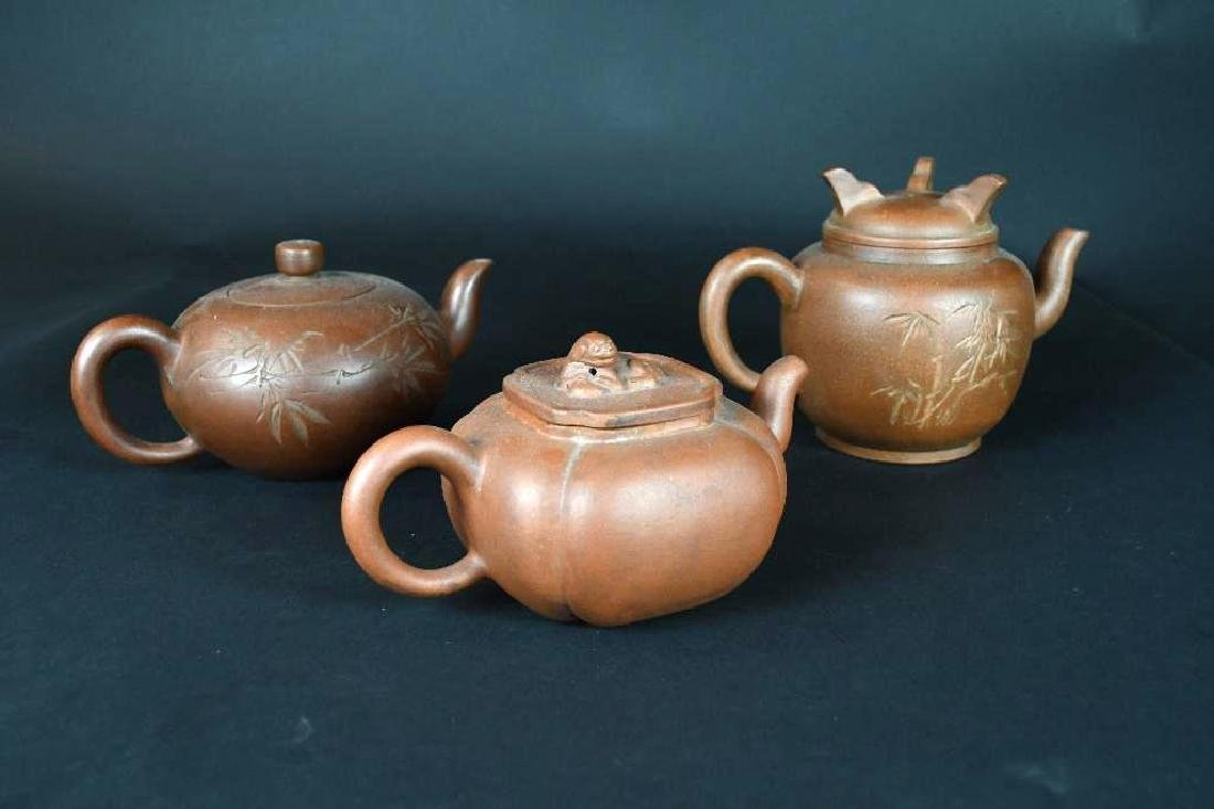 Three Chinese Pottery Tea Pots