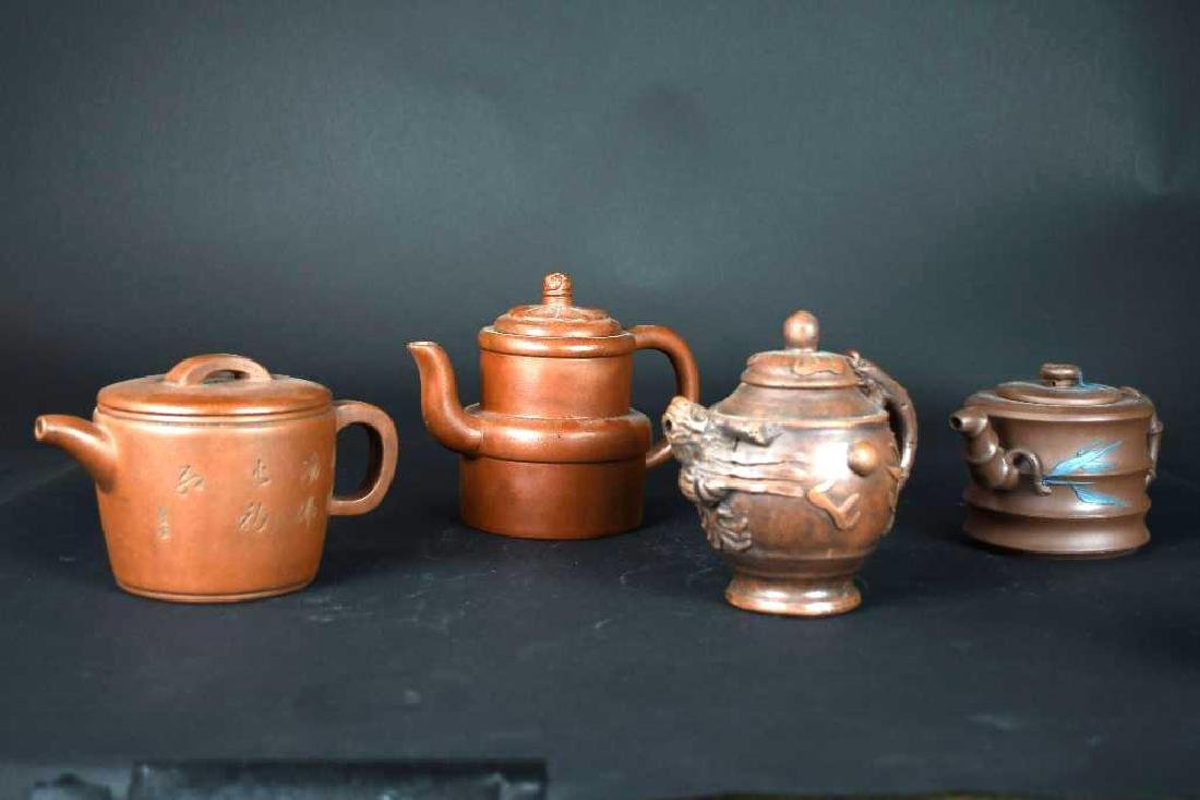 Group of Four Chinese Pottery Tea pots