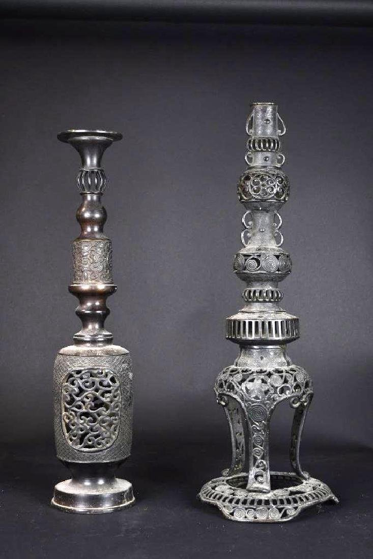 Two Bronze Candle Holder/Incense Burner