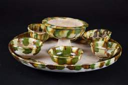 Six Chinese Sancai Glaze BowlsCups Tray Tang Dynasty