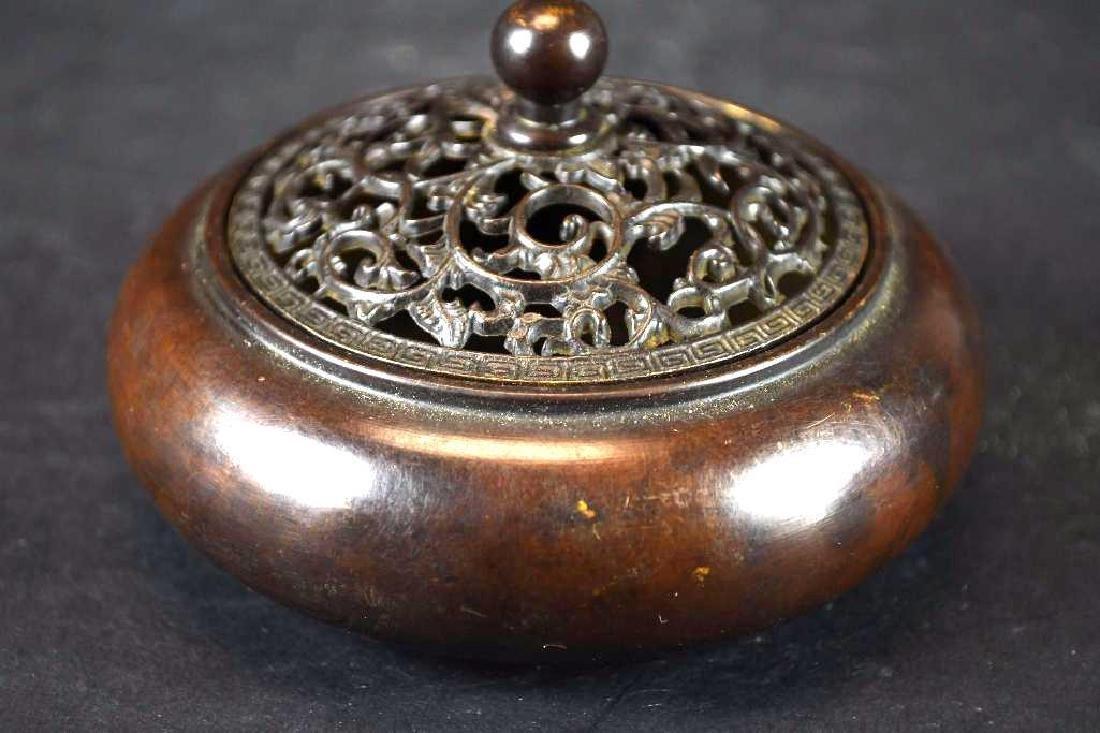 Chinese Bronze Lidded Censer - 4