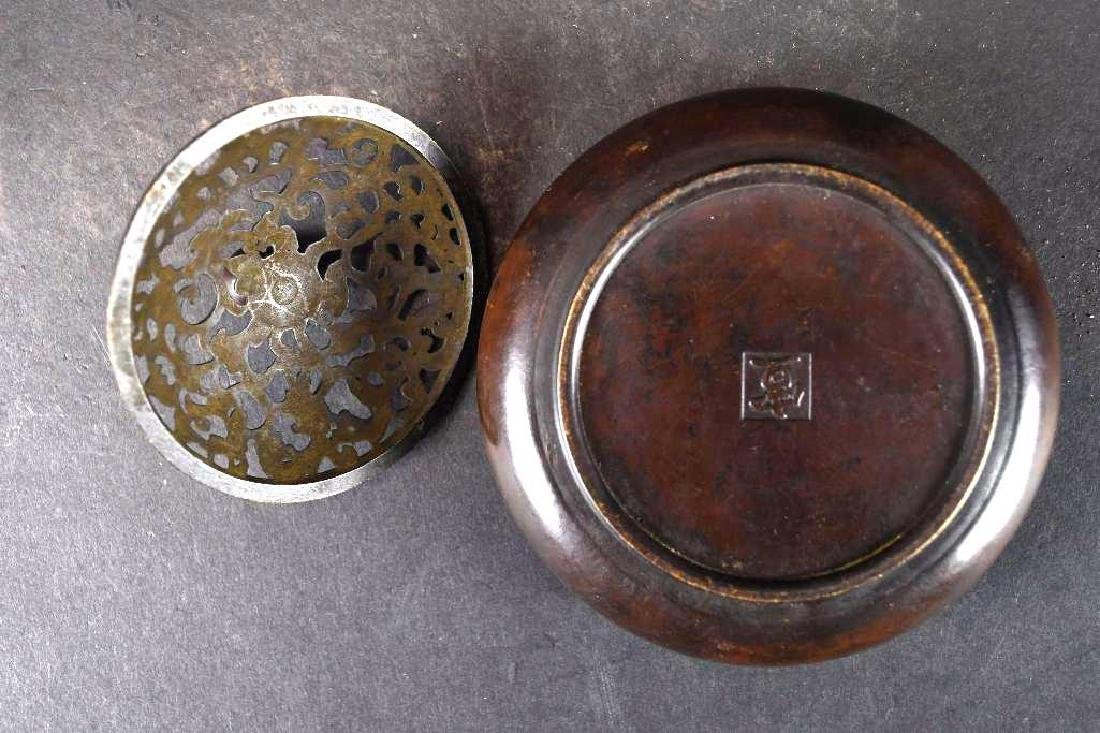 Chinese Bronze Lidded Censer - 6