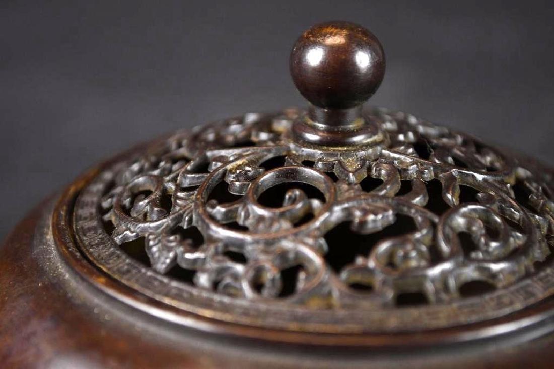 Chinese Bronze Lidded Censer - 7